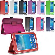 For Samsung Galaxy etui Med stativ Flip Etui Heldækkende Etui Helfarve Kunstlæder for Samsung Tab 3 10.1 Tab 3 7.0