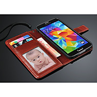 Varten Samsung Galaxy kotelo Korttikotelo / Lomapkko / Tuella / Flip Etui Kokonaan peittävä Etui Yksivärinen Tekonahka Samsung S5