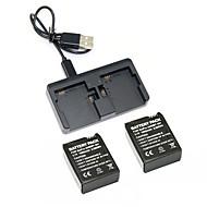 GOPRO 영웅 3 3+ 충전기 키트 2PCS 3.7의 1050mah의 GOPRO 영웅 3분의 3 + 배터리 + gopro3 이중 2 배터리 USB 충전기 3+
