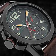 CURREN 男性 軍用腕時計 リストウォッチ クォーツ 日本産クォーツ レザー バンド ブラウン