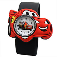 Children's Cartoon Car Pattern Silicone Quartz Analog Wrist Watch Cool Watches Unique Watches Fashion Watch