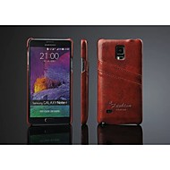 Pour Samsung Galaxy Note Porte Carte Coque Coque Arrière Coque Couleur Pleine Cuir PU pour Samsung Note 4