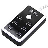 Enkay bärbar höghastighets 5v 2a / 1a / 0.5A / 6 portar USB snabbladdare strömadapter - 112cm längd