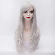 70 סנטימטר שיער מתולתל ארוך שכבתי עם פאת כסף מפץ הצד לבנה עמיד בחום Harajuku הסינתטי אופנה לוליטה