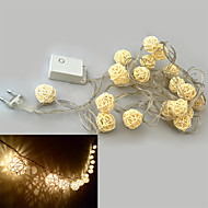 YouOkLight® 3W 200lm 3000-3200K 20-LED Warm White Balls Style Light String - White + Beige (4M / 110-220V)