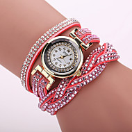 Xu™ 아가씨들 패션 시계 팔찌 시계 캐쥬얼 시계 석영 PU 밴드 꽃패턴 레오파드 보헤미안 블랙 화이트 블루 레드 오렌지 브라운 그린 핑크 퍼플 카키