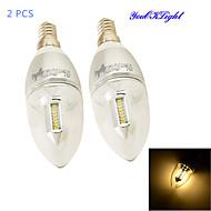 3W E14 LED-stearinlyspærer C35 32 SMD 3014 300 lm Varm hvid Dekorativ AC 85-265 V 2 stk.