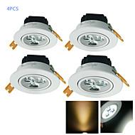 YouOKLight 4PCS 3W CRI=80 300LM 3-High Power LED Warm White/White Light LED Recessed Spot Lights (AC110-120V/220-240V)