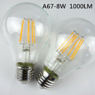 1 pcs E27 8 W Filament LED 1000LM LM Warm White A67 Dimmable / Decorative Globe Bulbs AC 220-240 V