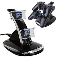Dual USB con LED blu Dock Station Stand per la PS4 Controller (nero)