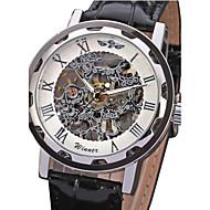 Hombre Reloj Esqueleto Cuerda Manual Huecograbado PU Banda Reloj de Pulsera Negro