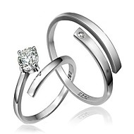 指輪 結婚式 / パーティー / 日常 / カジュアル ジュエリー 純銀製 夫婦 カップルリング 2 個,調整可 シルバー