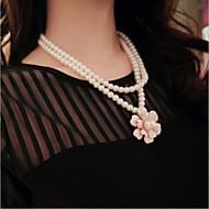Damskie Pasemka Naszyjniki Warstwy Naszyjniki Perlový náhrdelník Perłowy Imitacja pereł Stop Podwójna warstwa White Black Biżuteria Na