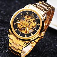 Férfi Karóra mechanikus Watch Automatikus önfelhúzós Vízálló Üreges gravírozás Rozsdamentes acél Zenekar Szikra Luxus Arany