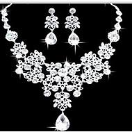 Damen Schmuckset Ohrring Anhängerketten Modisch Doppelschicht Schmuck mit Aussage Modeschmuck Diamantimitate Tropfen Ohrringe Halskette