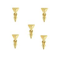 10pcs Stylish Gold Pyramid Stud with Spike Dangle 3D Nail Art Decoration 6mm x14mm