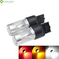 2 x T20 7440 w21w 30w 6xcree hvid / rød / gul / kold hvid 2100lm 6500K til bil bremse lys omvendt lampe 12-24V