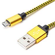 1m 3.28ft aluminium + pvc usb data kabel voor Samsung mobiele telefoon (verschillende kleuren)