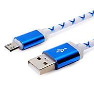 1m 3.28ft Aluminium + pvc LED-Licht glüht USB2.0-Datenkabel für Samsung Handy (farbig sortiert)