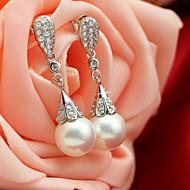 ドロップイヤリング 純銀製 人造真珠 キュービックジルコニア クリスタル ジュエリー のために 結婚式 パーティー 日常 カジュアル 1セット