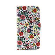 ipod touch 5/6 için renkli çiçek pu deri cüzdan tam vücut dava