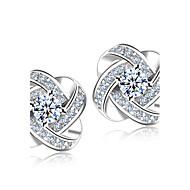 スタッドピアス 模造ダイヤモンド ファッション 高級ジュエリー 純銀製 クリスタル ラインストーン シルバー ジュエリー のために 結婚式 パーティー 日常 2 個