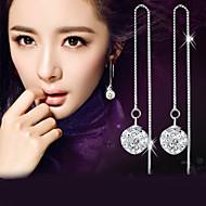 ドロップイヤリング 模造ダイヤモンド ファッション Elegant 純銀製 クリスタル イミテーションダイヤモンド ボール型 シルバー ジュエリー のために 結婚式 パーティー 日常 カジュアル 2 個