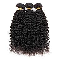 Echthaar Brasilianisches Haar Menschenhaar spinnt Kinky Curly Ringellocken Haarverlängerungen 3 Stück Schwarz Naturfarbe