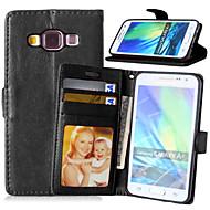 용 삼성 갤럭시 케이스 카드 홀더 / 스탠드 / 플립 / 마그네틱 케이스 풀 바디 케이스 단색 인조 가죽 Samsung A5 / A3