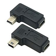 cy® kvindelige mini usb til mandlige venstre og højre drejning mini USB-adapter