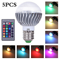 5Pcs  MORSEN® HOT! E27 9W  LED RGB Bulb  AC 85-265V  Led  Lamp with Remote Control Multiple Colour Led Lighting