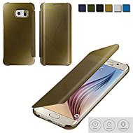 lyx öpppet spegel flip galvanisering ringer fall för Samsung Galaxy S6 / S6 kant / s6 kant + / S7 / S7 kant / s7 kant +