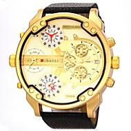 JUBAOLI 男性 軍用腕時計 リストウォッチ カレンダー 2タイムゾーン クォーツ レザー バンド ブラック 白 オレンジ