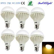 7W E26/E27 Żarówki LED kulki B 12 SMD 5630 550 lm Ciepła biel Dekoracyjna AC 220-240 V 6 sztuk