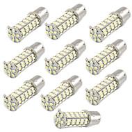 10 Pcs Car 1156 BA15S 1206 68-SMD LED Tail Brake Backup White Light Bulbs