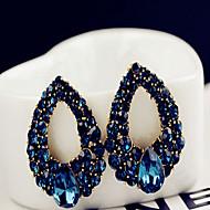 Függők Fülbevaló Zafír Divat Európai Méretes ékszerek Drágakő Hamis gyémánt Lógó Tengerészkék Ékszerek Mert Esküvő Parti 1 pár