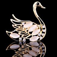 kvinders krystal svane dyr broche til bryllupsfest dekoration tørklæde, fine smykker, tilfældig farve
