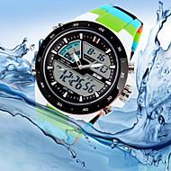 Herr Armbandsur Quartz Japansk kvartsur LED Kalender Kronograf Vattenavvisande Dubbel tidszon Silikon Band Lyxig Multi-Färgad3# 4# 5# 6#