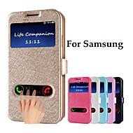 のために Samsung Galaxy Note ウィンドウ付き / フリップ ケース フルボディー ケース ソリッドカラー PUレザー Samsung Note 5
