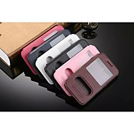 For Samsung Galaxy Case with Stand / with Windows / Flip Case Full Body Case Solid Color PU Leather Samsung J5 / J3