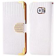 For Kortholder Rhinsten Med stativ Flip Etui Heldækkende Etui Helfarve Hårdt Kunstlæder for Samsung Note 5 Note 4 Note 3