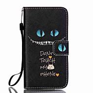 niebieskie oczy smycz wzór pu skórzane etui telefon Samsung Galaxy A3 (2016) / A5 (2016)