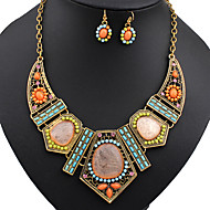 Jewelry Necklaces Earrings Turquoise Wedding Party Alloy 1set Women Orange Wedding Gifts