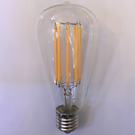 1 pcs kwb E26/E27 11W 8 COB 1000 lm Warm White / Amber ST64 edison Vintage LED Filament Bulbs AC 85-265 V