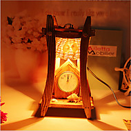 Creative Wood The Pyramid with Clock Container Decoration Desk Lamp Bedroom Lamp Gift for Kid