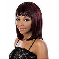 Top Quality Bugundy Strip   Fashion Middle Long  Straight  Wig Woman's Synthetic Wigs Hair Party  Wig