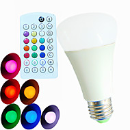 1 pcs SchöneColors E26/E27 9W Dimmable/ Music-Controlled/Remote-Controlled/Decorative RGB LED Globe Bulb AC 100-240 V