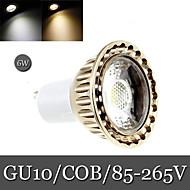 6W GU10 Spot LED Encastrée Moderne 1LED COB 300 lm Blanc Chaud / Blanc Froid Décorative AC 85-265 V 1 pièce