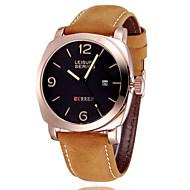CURREN 男性 軍用腕時計 リストウォッチ カレンダー クォーツ 日本産クォーツ レザー バンド ラグジュアリー カーキ