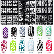 6X12PCS Flower Style Hollow Out DIY Paster Nail Art Diecut Manicure Stencils Guide